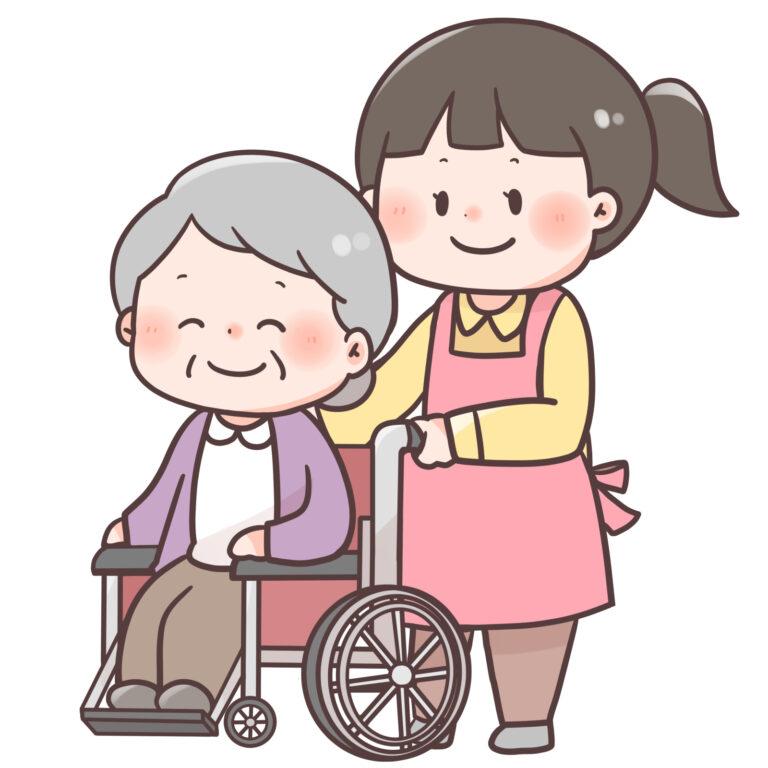 車椅子介助をする様子