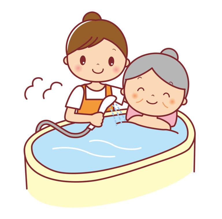 高齢者の入浴介助をする様子